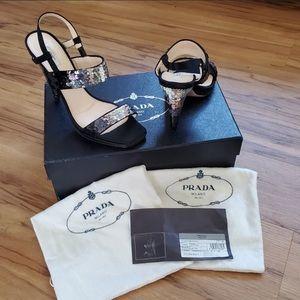 Prada Raso Paillettes black satin & sequence heels